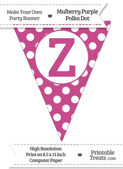 Mulberry Purple Polka Dot Pennant Flag Capital Letter Z from PrintableTreats.com