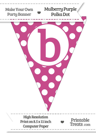 Mulberry Purple Polka Dot Pennant Flag Lowercase Letter B from PrintableTreats.com