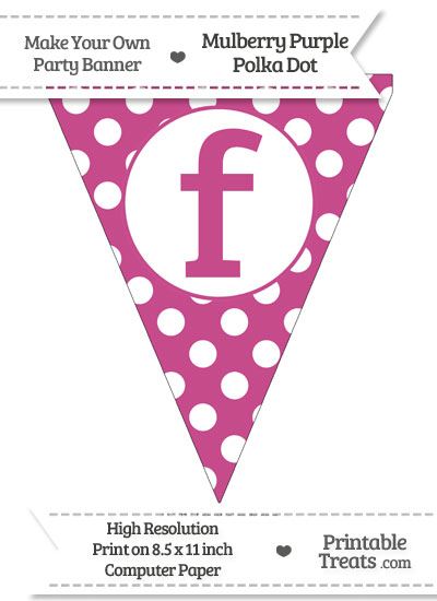 Mulberry Purple Polka Dot Pennant Flag Lowercase Letter F from PrintableTreats.com