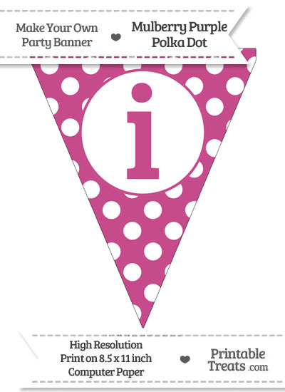 Mulberry Purple Polka Dot Pennant Flag Lowercase Letter I from PrintableTreats.com