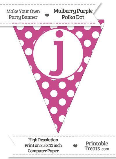 Mulberry Purple Polka Dot Pennant Flag Lowercase Letter J from PrintableTreats.com