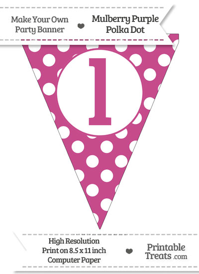 Mulberry Purple Polka Dot Pennant Flag Lowercase Letter L from PrintableTreats.com