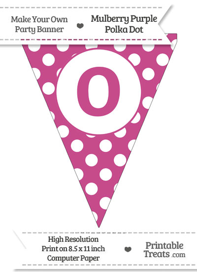 Mulberry Purple Polka Dot Pennant Flag Lowercase Letter O from PrintableTreats.com