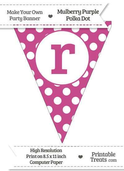 Mulberry Purple Polka Dot Pennant Flag Lowercase Letter R from PrintableTreats.com