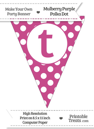 Mulberry Purple Polka Dot Pennant Flag Lowercase Letter T from PrintableTreats.com