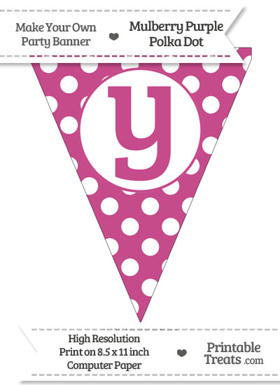 Mulberry Purple Polka Dot Pennant Flag Lowercase Letter Y from PrintableTreats.com