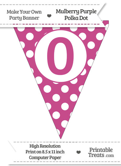 Mulberry Purple Polka Dot Pennant Flag Number 0 from PrintableTreats.com