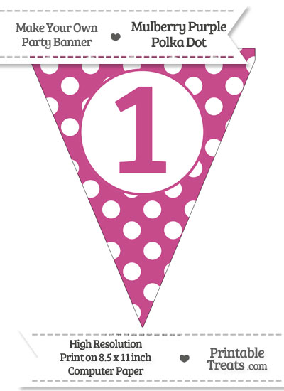 Mulberry Purple Polka Dot Pennant Flag Number 1 from PrintableTreats.com