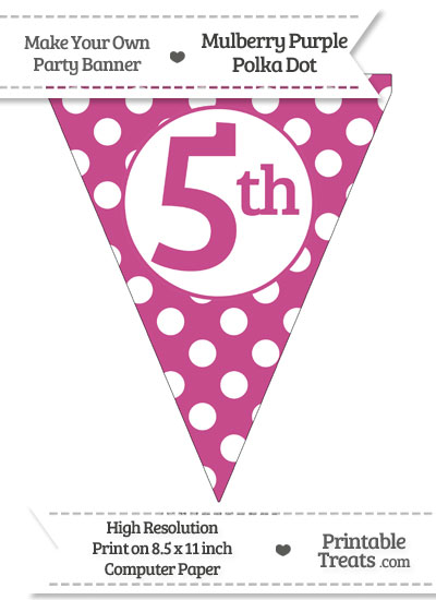 Mulberry Purple Polka Dot Pennant Flag Ordinal Number 5th from PrintableTreats.com