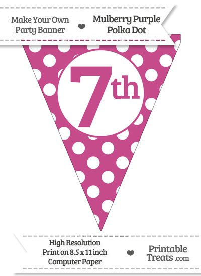 Mulberry Purple Polka Dot Pennant Flag Ordinal Number 7th from PrintableTreats.com