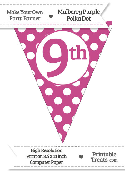 Mulberry Purple Polka Dot Pennant Flag Ordinal Number 9th from PrintableTreats.com