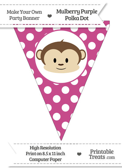 Mulberry Purple Polka Dot Pennant Flag with Boy Monkey from PrintableTreats.com