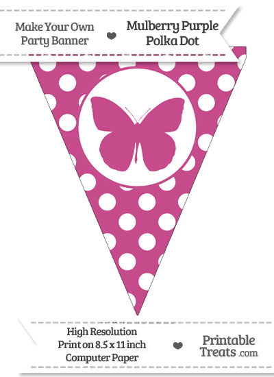 Mulberry Purple Polka Dot Pennant Flag with Butterfly from PrintableTreats.com