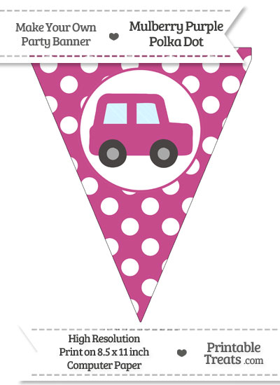 Mulberry Purple Polka Dot Pennant Flag with Car Facing Right from PrintableTreats.com