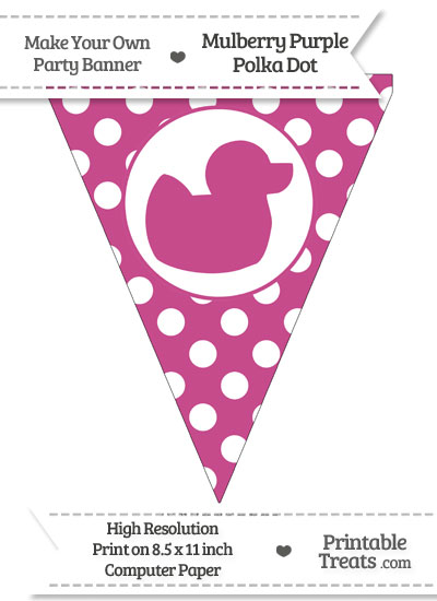 Mulberry Purple Polka Dot Pennant Flag with Duck Facing Right from PrintableTreats.com