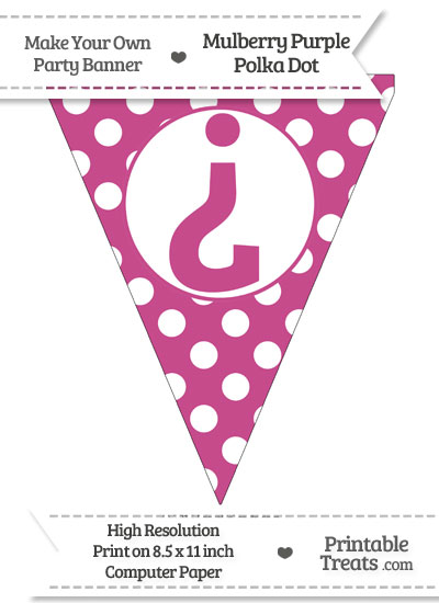 Mulberry Purple Polka Dot Pennant Flag with Inverted Question Mark from PrintableTreats.com