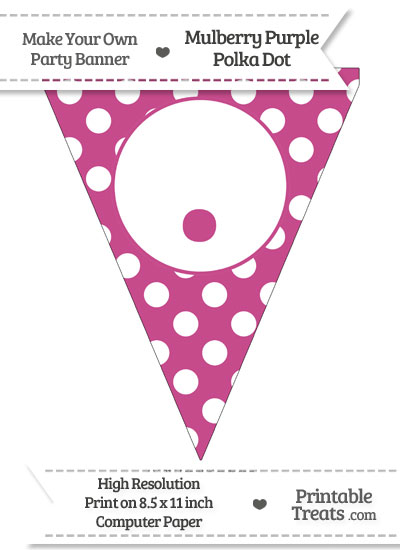 Mulberry Purple Polka Dot Pennant Flag with Period from PrintableTreats.com