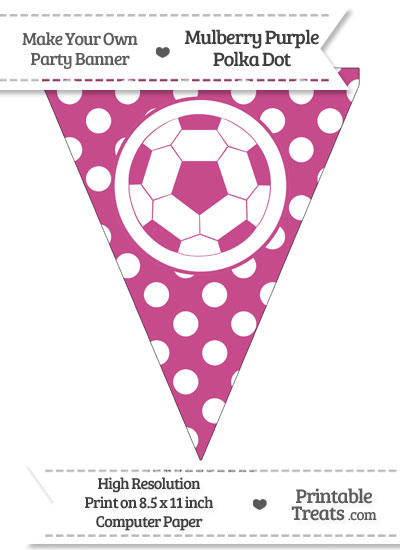 Mulberry Purple Polka Dot Pennant Flag with Soccer Ball from PrintableTreats.com