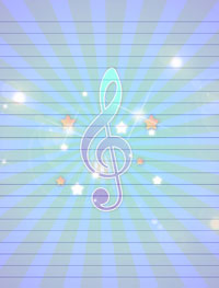 blue musical stationery