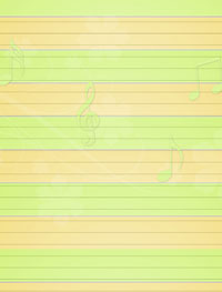 green yellow musical stationery
