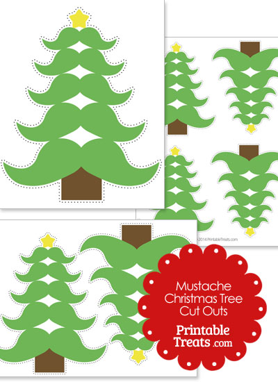 Mustache Christmas Tree Cut Outs from PrintableTreats.com