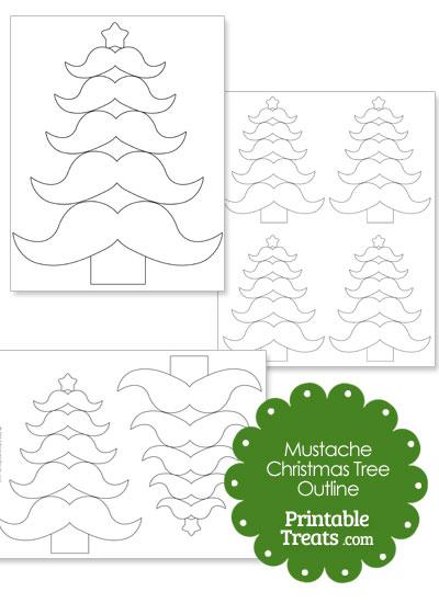 Mustache Christmas Tree Outline from PrintableTreats.com