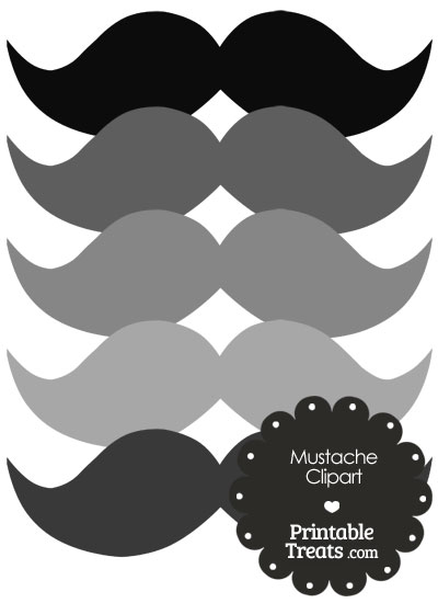 Mustache Clipart in Shades of Grey from PrintableTreats.com