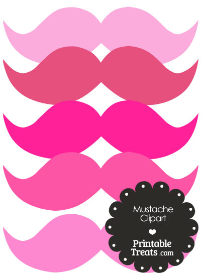 Mustache Clipart in Shades of Pink from PrintableTreats.com