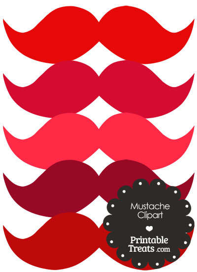 Mustache Clipart in Shades of Red from PrintableTreats.com