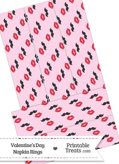 Mustache Kiss Napkin Rings from PrintableTreats.com