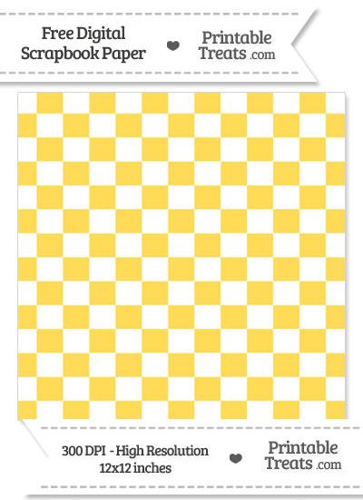 Mustard Yellow Checkered Pattern Digital Paper from PrintableTreats.com