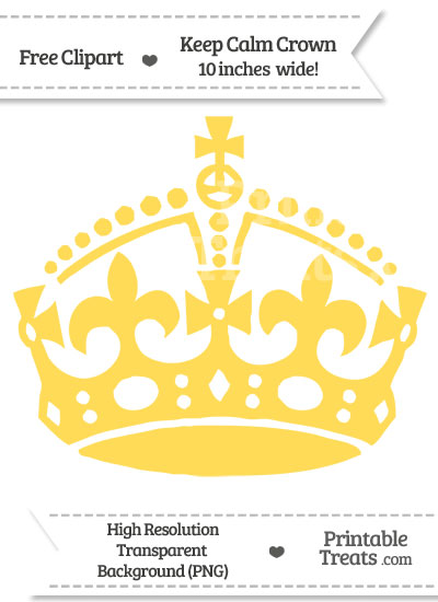 Mustard Yellow Keep Calm Crown Clipart from PrintableTreats.com