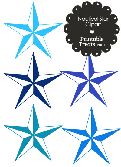 Nautical Star Clipart in Shades of Blue from PrintableTreats.com