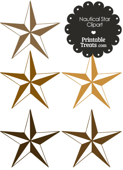Nautical Star Clipart in Shades of Brown from PrintableTreats.com