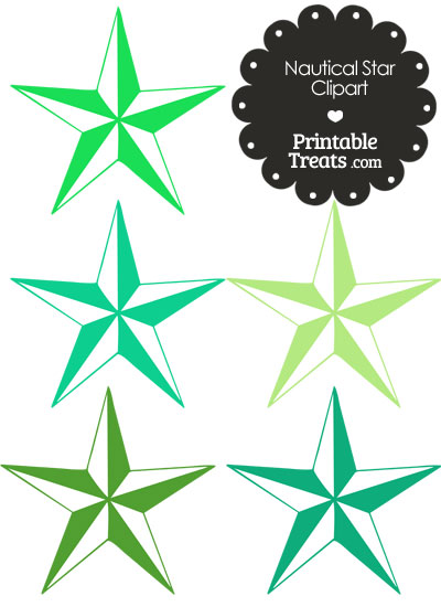 Nautical Star Clipart in Shades of Green from PrintableTreats.com