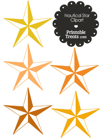 Nautical Star Clipart in Shades of Orange from PrintableTreats.com