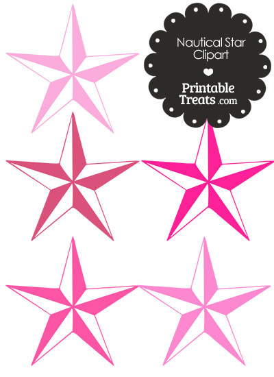 Nautical Star Clipart in Shades of Pink from PrintableTreats.com