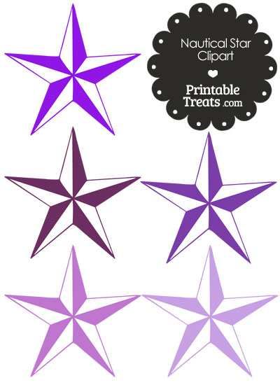 Nautical Star Clipart in Shades of Purple from PrintableTreats.com