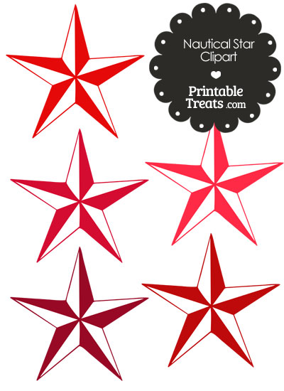 Nautical Star Clipart in Shades of Red from PrintableTreats.com