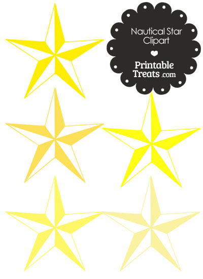 Nautical Star Clipart in Shades of Yellow from PrintableTreats.com