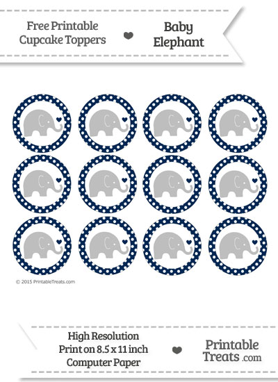 Navy Blue Polka Dot Baby Elephant Cupcake Toppers from PrintableTreats.com