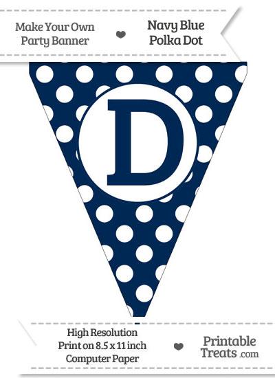 Navy Blue Polka Dot Pennant Flag Capital Letter D from PrintableTreats.com