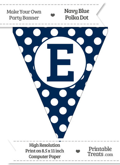 Navy Blue Polka Dot Pennant Flag Capital Letter E from PrintableTreats.com