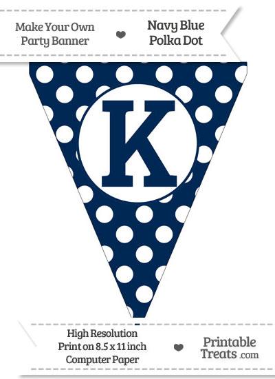 Navy Blue Polka Dot Pennant Flag Capital Letter K from PrintableTreats.com