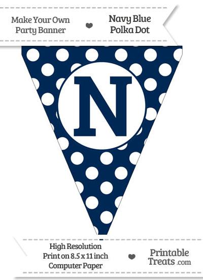 Navy Blue Polka Dot Pennant Flag Capital Letter N from PrintableTreats.com