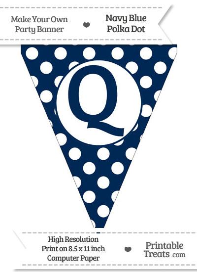 Navy Blue Polka Dot Pennant Flag Capital Letter Q from PrintableTreats.com