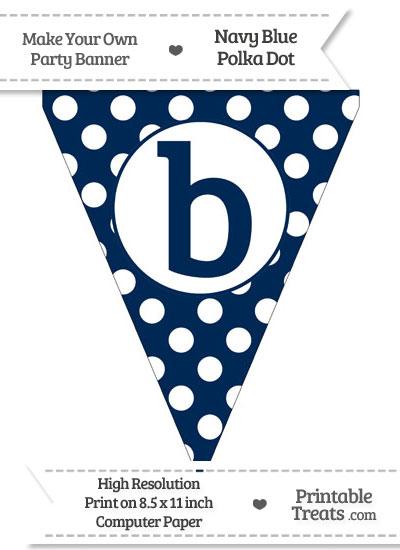 Navy Blue Polka Dot Pennant Flag Lowercase Letter B from PrintableTreats.com