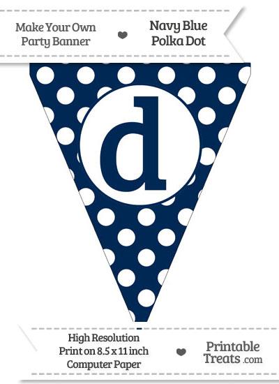 Navy Blue Polka Dot Pennant Flag Lowercase Letter D from PrintableTreats.com