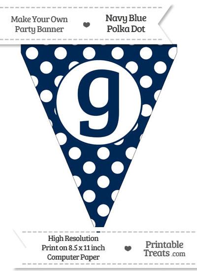 Navy Blue Polka Dot Pennant Flag Lowercase Letter G from PrintableTreats.com