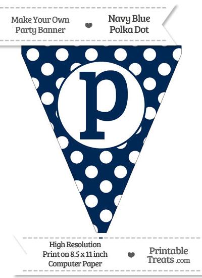 Navy Blue Polka Dot Pennant Flag Lowercase Letter P from PrintableTreats.com